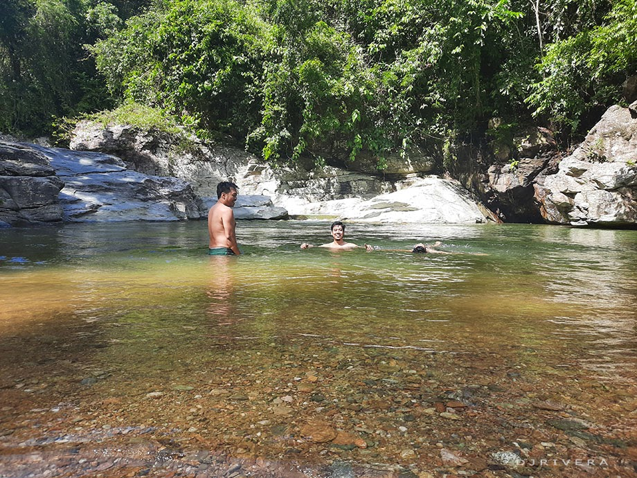 Swimming at wide river basin