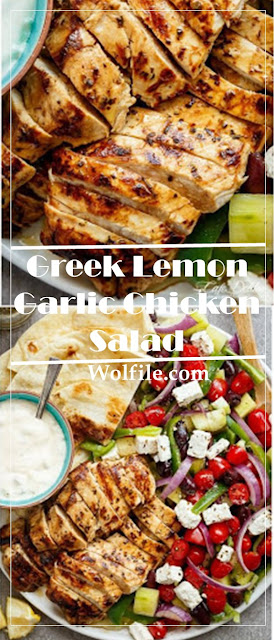 Greek Lemon Garlic Chicken Salad Recipe #Salad #Chicken