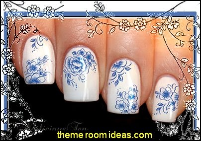 Blue Flowers Nail Wraps Art Water Transfer Decal