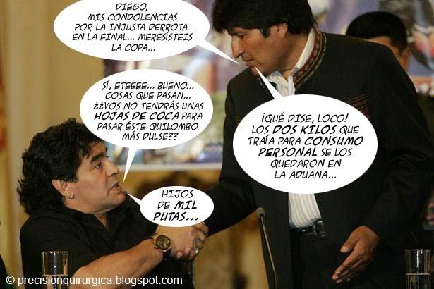 Viñeta Humor Maradona-Evo Morales