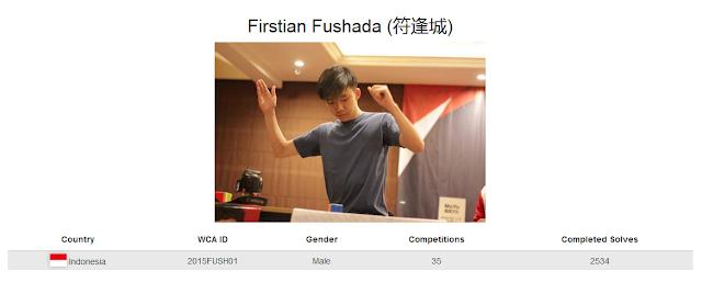 Profile akun WCA Firstian Fushada yang merupakan peringkat ke-empat nasional rubik clock kategori single