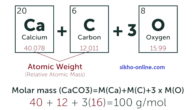 calculate molecular weight of caco3 in hindi