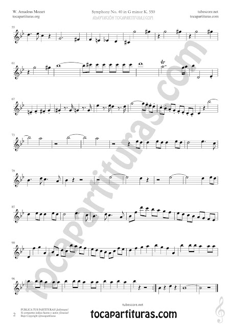 Symphony Nº 40 Sheet Music for Flute Music Scores PDF and MIDI here