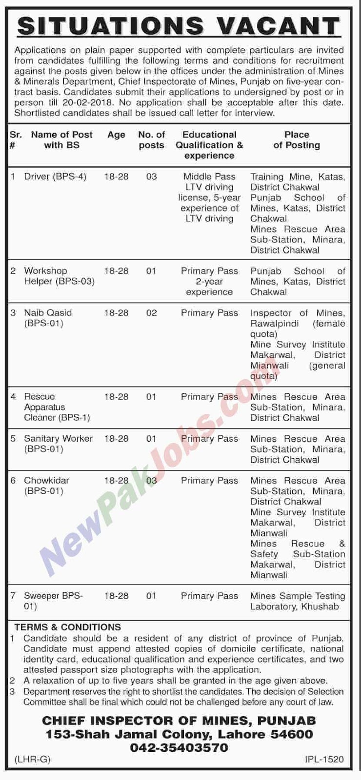 Latest Govt Jobs announced in Mines and Minerals Department Feb 2018