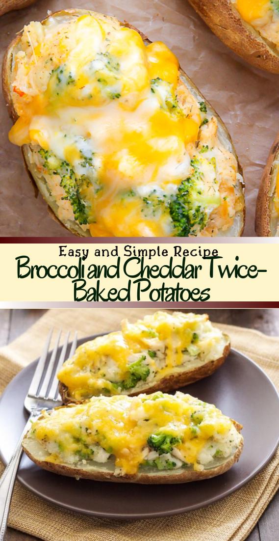 Broccoli and Cheddar Twice-Baked Potatoes #healthyfood #dietketo #breakfast #food