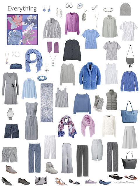capsule wardrobe in grey, blue and orchid