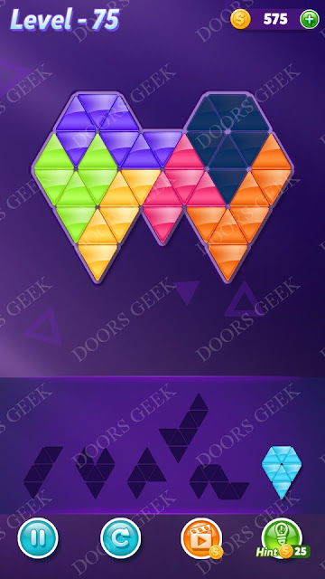 Block! Triangle Puzzle 6 Mania Level 75 Solution, Cheats, Walkthrough for Android, iPhone, iPad and iPod