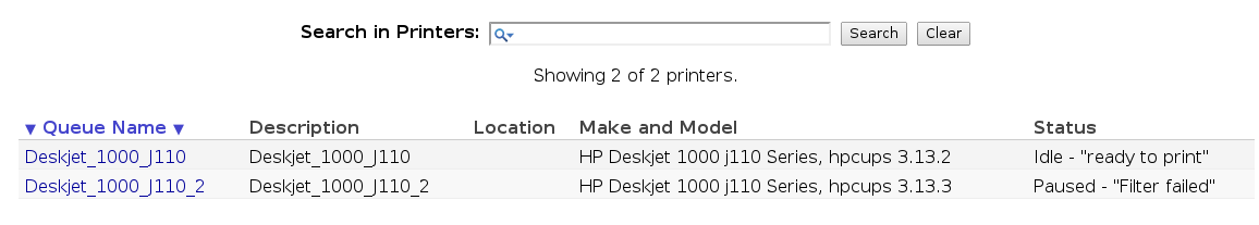 "Fix ""Filter Failed"" when printing using HP Deskjet 1000 on Archlinux"