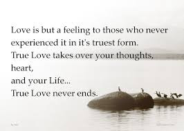 Best Quotes About Love Messages: Love is but a felling to those who never experienced it in it's truest from.