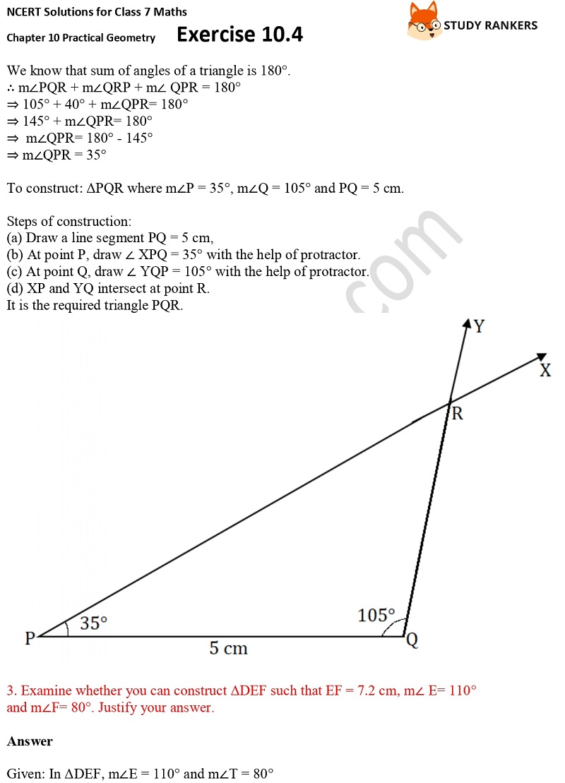 NCERT Solutions for Class 7 Maths Ch 10 Practical Geometry Exercise 10.4 2