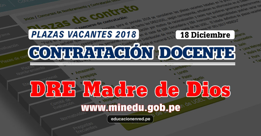 DRE Madre de Dios: Plazas Vacantes Contrato Docente 2018 (.PDF) www.dredmdd.gob.pe