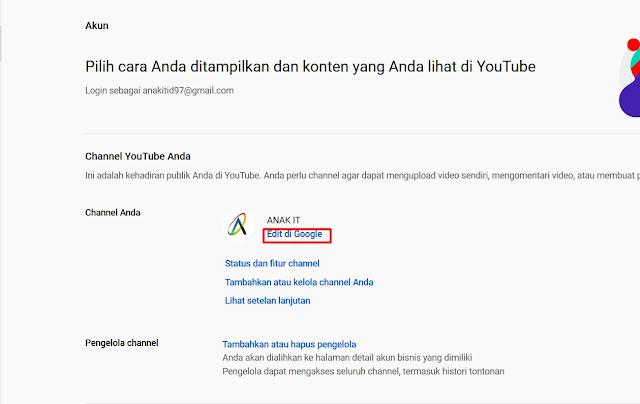 cara merubah nama channel youtube di hp android dan laptop