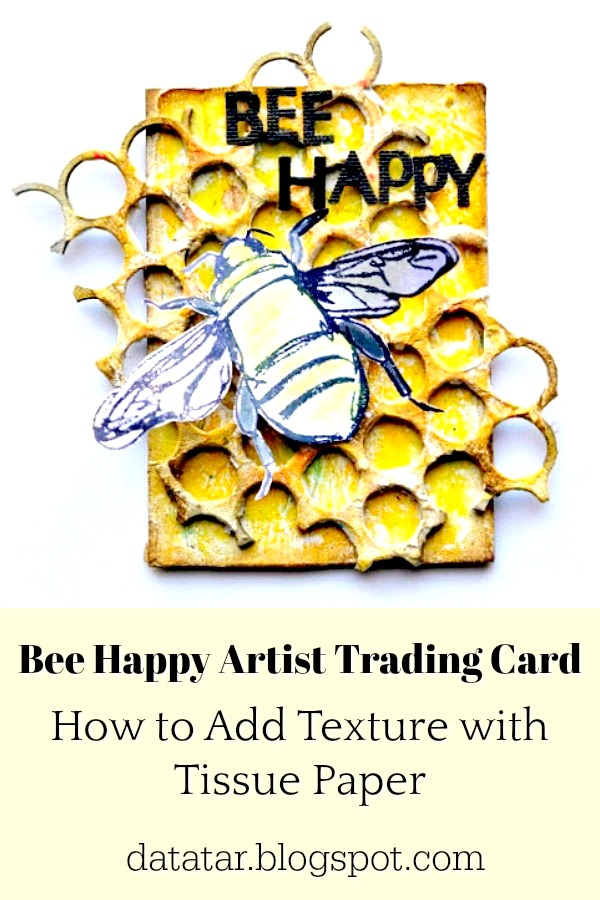 Yellow Artist Trading Card with Honeycomb Grid and Stamped Bee