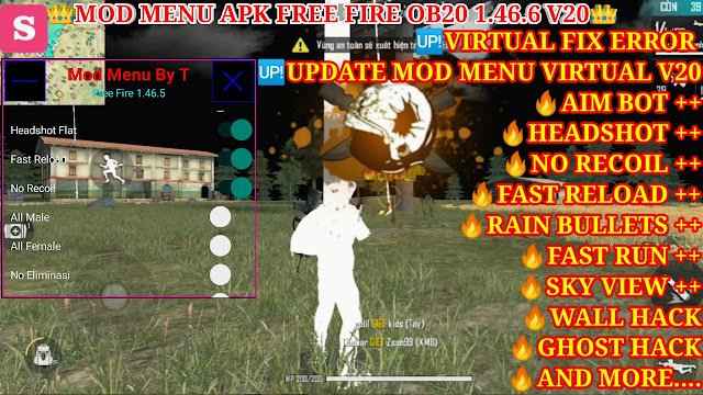 DOWNLOAD MOD MENU APK FREE FIRE OB20 V19 - AUTO HEADSHOT+, AIM BOT+, SKY VIEW+, WALL HACK, GHOST HACK.