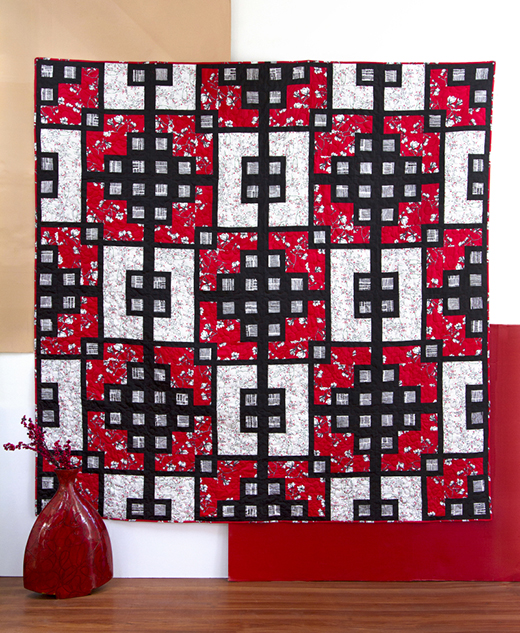 Shoji Quilt designed by Live art gallery fabrics, featuring Silkroad Collection