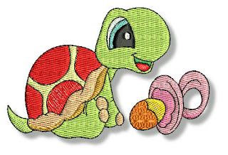 Embroidered Images of Turtles.