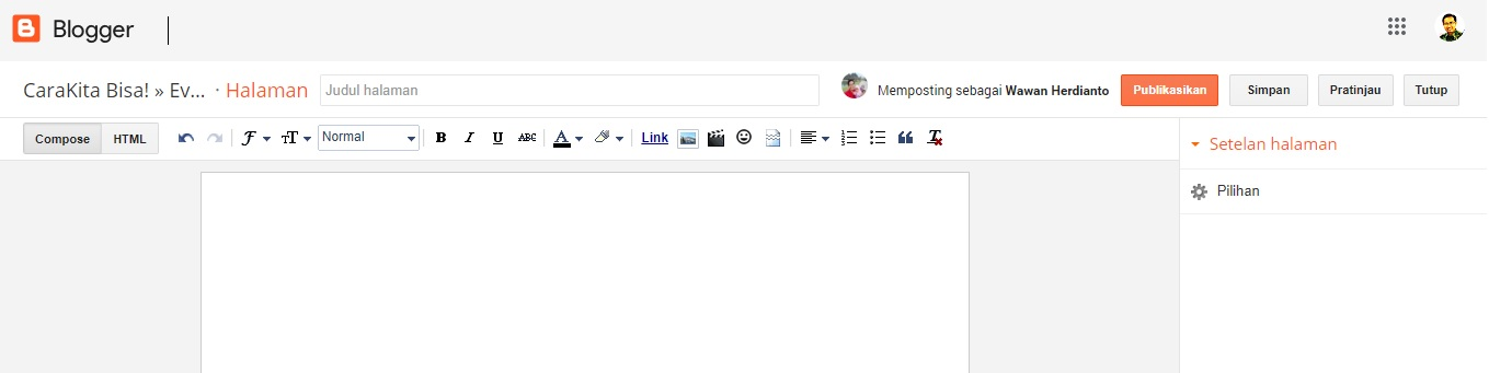 editor halaman blogger