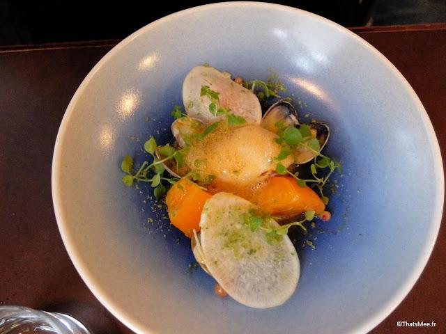 resto bistronomique menu 7 plats le galopin Paris 10eme romain tischenko top chef, lotte et palourdes et tomates