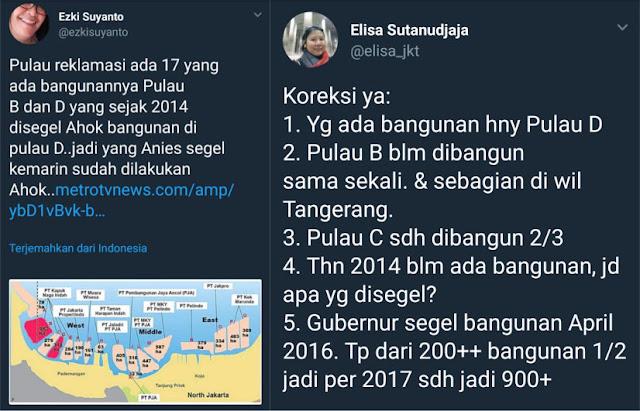 Pendukung Ahok Klaim Bangunan di Pulau D Sudah Disegel Ahok, Ini Bantahan Telak Elisa Sutanudjaja