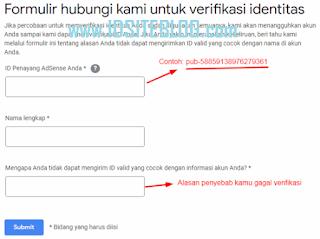 mengisi semua data yang diminta Google, seperti ID Penayang, Nama Lengkap, dan alasan penyebab kamu gagal verifikasi identitas.