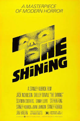 Movie poster for Stanley Kubrick's The Shining (1980), starring Jack Nicholson, Shelley Duvall, Danny Lloyd, Scatman Crothers, and Joe Turkel