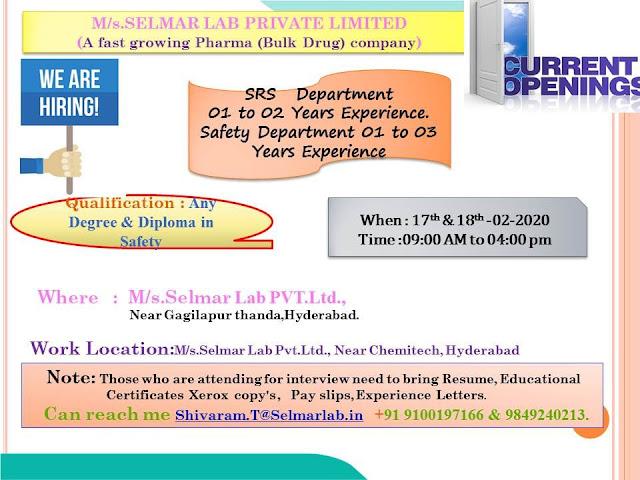 Selmar Lab Ltd - Walk in interview on 18th Feb 2020