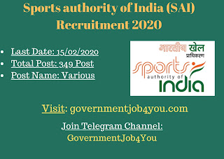 Sports Authority of India (SAI) Recruitment 2020 Invites online applications for filling up the scientific staff in ANTHROPOMETRY, EXERCISE PHYSIOLOGY, STRENGTH & CONDITIONING, SPORTS MEDICINE, PHYSIOTHERAPY, MASSEUR/MASSEUSE, BIOCHEMISTRY, PHARMACY, NURSING ASSISTANT, LAB TECHNICIAN (MEDICAL & NON- MEDICAL LABS) at different level (Lead, Grade III, II, I)  posts. There is a total of 349 vacancies of the posts to be filled. Applicants to the posts posses with as per requirement given in application Passout to apply. Such eligible applicants need to apply online. For online applications, applicants need to pay the application fees as given. The closing date for online applications is 15 th February 2020. More details of the  Sports Authority of India (SAI) Recruitment 2020 applications & online applications link is given below : –