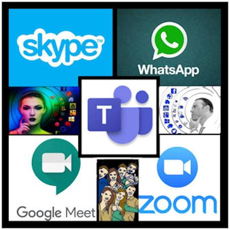 Verkosta löytyvien videokeskustelualustojen logoja, joitten nimet on mainittu tekstissä kuvan yläpuolella.