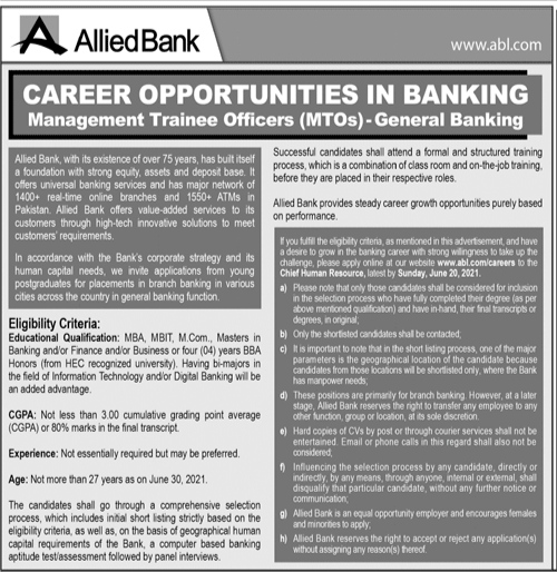 Allied Bank Limited ABL Jobs For Management Trainee Officers (MTOs) | General Banking Multiple Cities Of Pakistan Jobs 2021