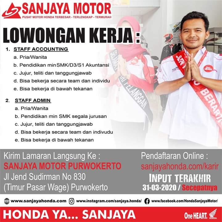 Lowongan Kerja Sanjaya Motor Purwokerto Staf Admin Dan Accounting Loker Swasta