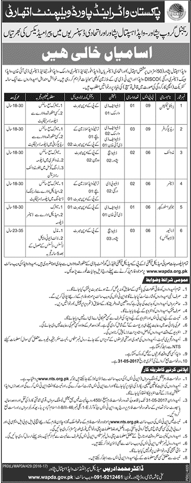 WAPDA Jobs 2017 NTS Regional Group Peshawar 8 May 2017