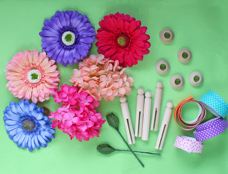 Materials needed to make a flower fairy craft