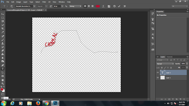photoshop ,teks mengikuti objek ,path ,new path ,type tool