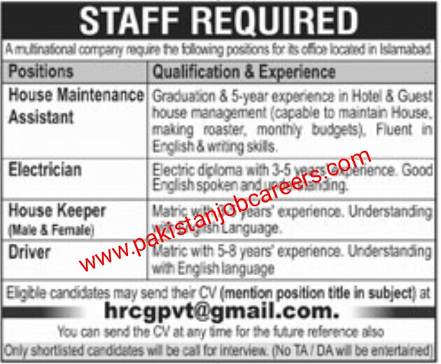 Latest Islamabad Multinational Company Jobs 2019 for House Maintenance Assistant, Electrician, House Keeper & Driver