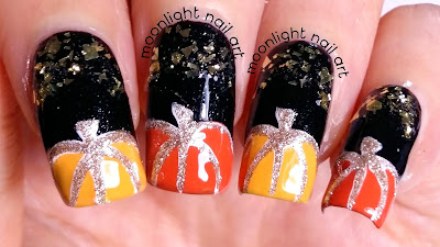 Autumn Pumpkin Nail Art on Black and Gold - Design Tutorial