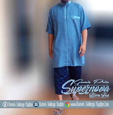 Baju Gamis Pria Supernova Biru Tua