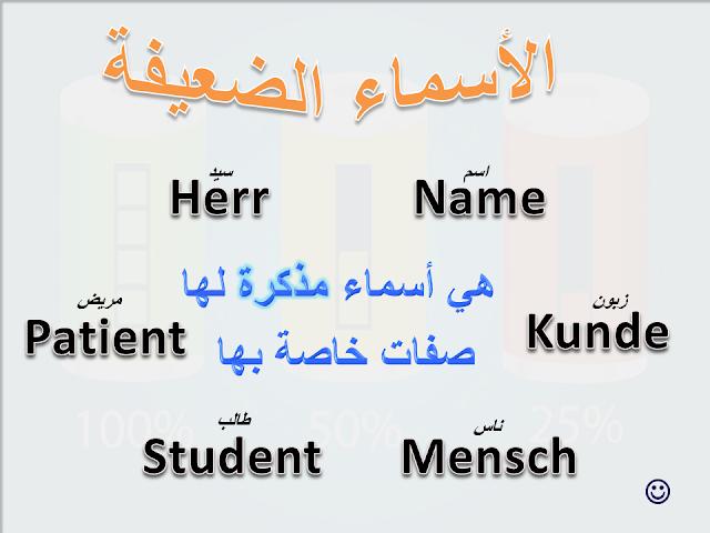 الأسماء الضعيفة في الألمانية أسماء مذكرة