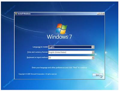 Select Windows 7 language