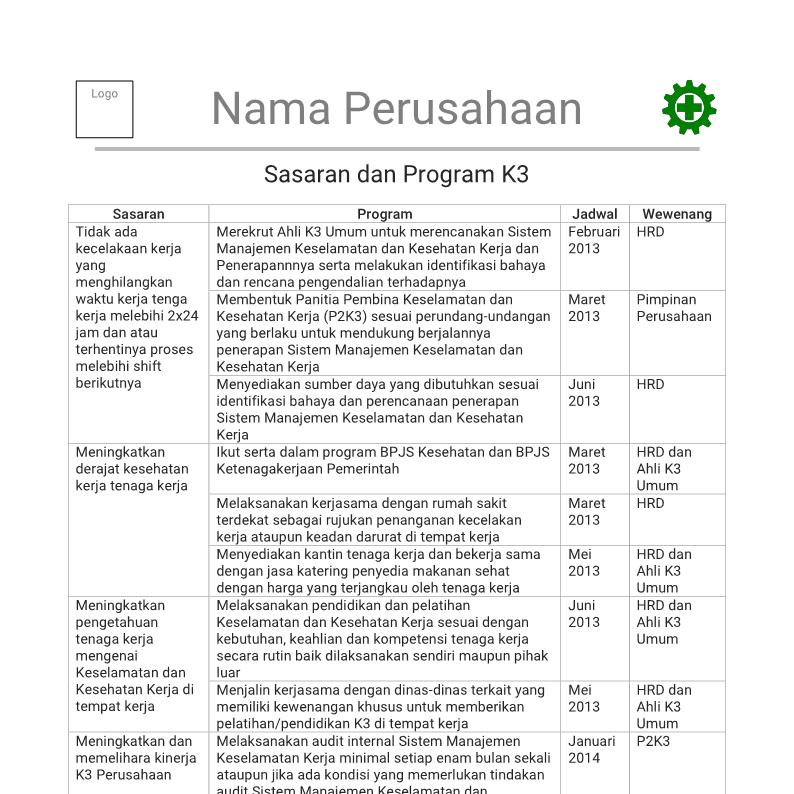 Contoh Sasaran Tujuan Target Dan Program K3 Keselamatan Dan Kesehatan Kerja Manajemen K3 Umum