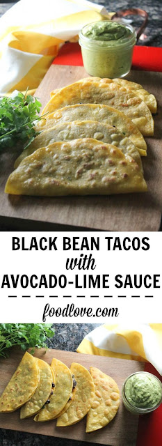 Crispy Black Bean Tacos With Avocado-lime Sauce