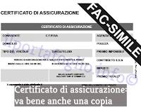 certificato di assicurazione da avere in auto o moto