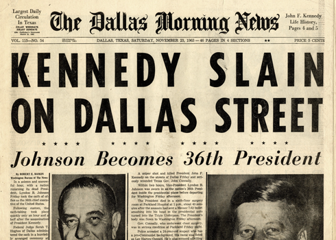 Kennedy Slain Headline Newspaper Dallas Morning News