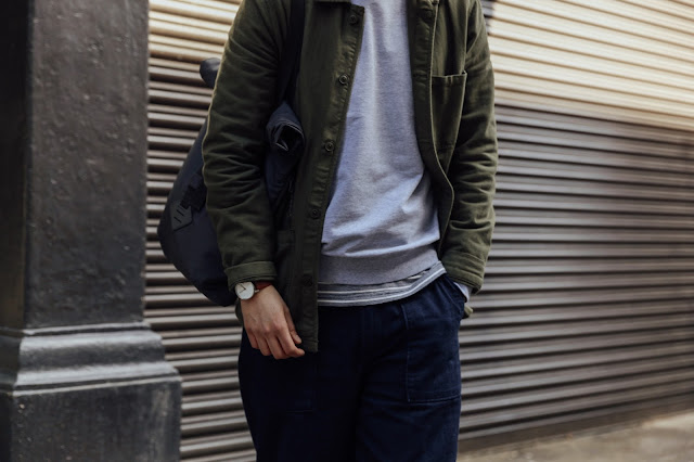 mat buckets in converse one star and universal works indigo trousers and asket sweatshirt