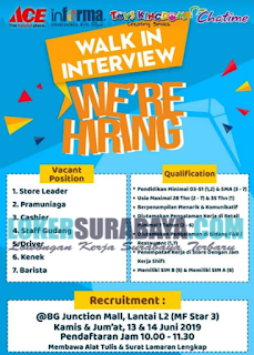 Walk In Interview di BG Junction Mall Surabaya Terbaru Juni 2019