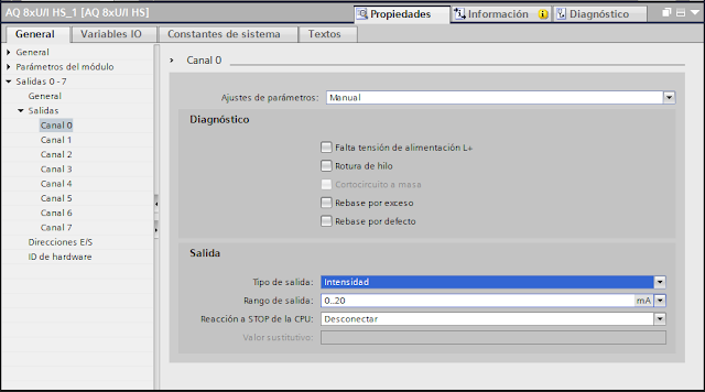 Salida analógica parámetros de salida TIA Portal V14