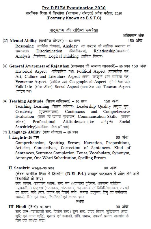 Rajasthan Predeled Syllabus in Hindi