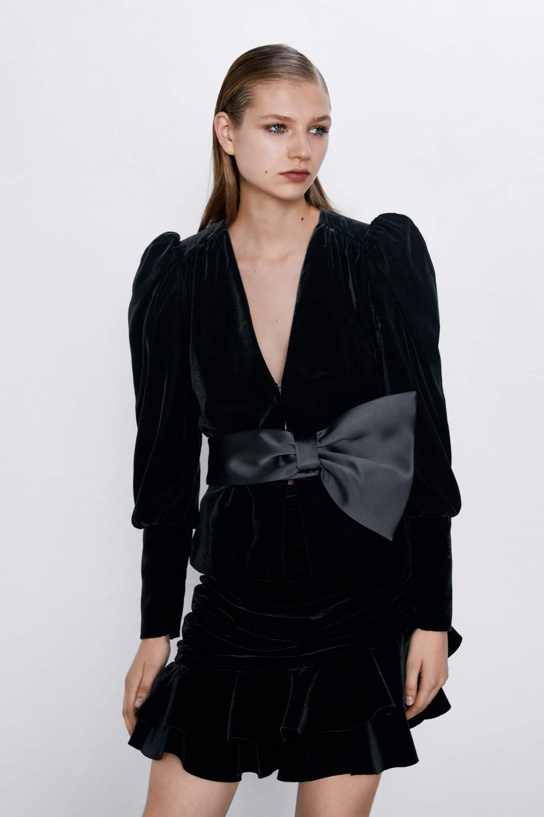 zara velvet jacket with bow