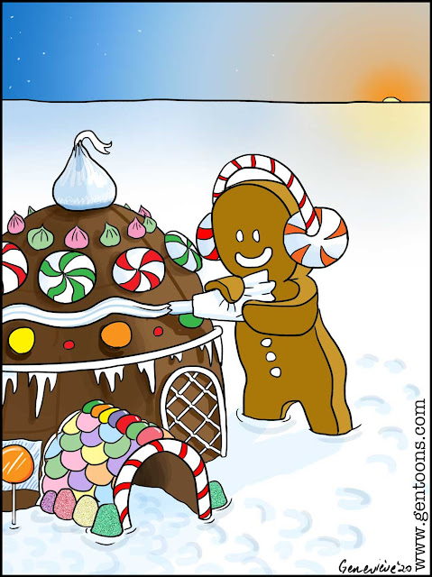 a snowy flat landscape, the sunlow on the horizon.  a Gingerbread person is decorating a gingerbread iglu for the holidays with cream, frosting, gumdrops, lollipops, and peppermints.