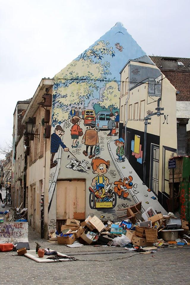 Brüksel Sokaklarında Çizgi Film Karikatürleri