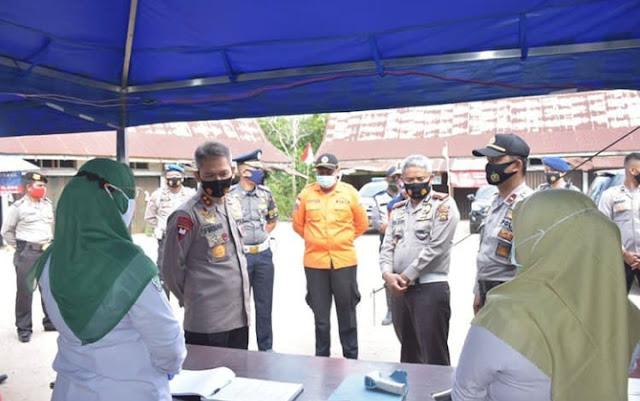 Antisipasi Penyebaran Covid 19, Kapolda Cek Pos Penyekatan di Batas Kota Dengan Kabupaten Muaro Jambi